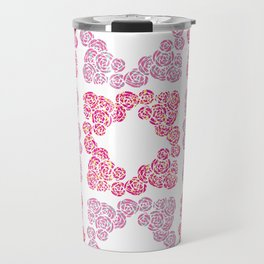Digital Overlapping Colourful Cluster of Roses Design Travel Mug