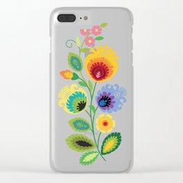 Polish Folk Flowers Yellow Clear iPhone Case