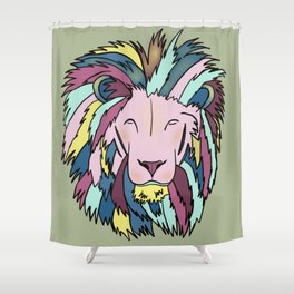 Lion Head King OF The Jungle In Teal, Pink, And Purple Pastels Shower Curtain