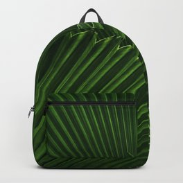 Tropical Green Palm Fan Leaf Geometric Stripe Textured Origami Pattern Backpack