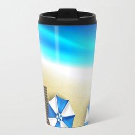 Couple of umbrellas on the beach, graphic art Travel Mug