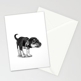 Cute cautious puppy wagging it's tail. Stationery Cards