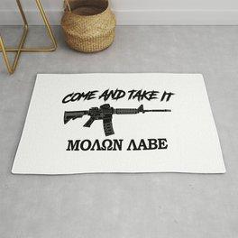Come and Take It! Molon Labe! Black in Greek. Rug