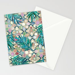 Muted Moroccan Mosaic Tiles with Palm Leaves Stationery Cards