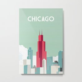 chicago trave poster city Metal Print