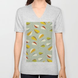 Mid Century Modern Graphic Leaves Pattern 1. Vintage green Unisex V-Neck