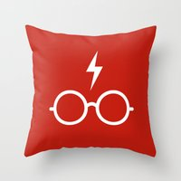 harry potter Throw Pillows featuring Harry Potter Minimal by cat&wolf