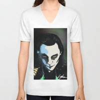 loki V-neck T-shirts featuring Loki  by Liam Shaw Illustration
