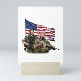 Presidential Soldiers: Ronald Reagan & Donald Trump USA Flag Mini Art Print