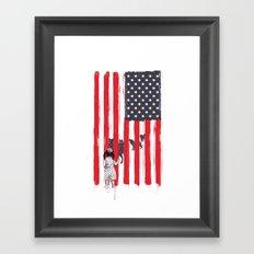 Little girl and wolves Framed Art Print