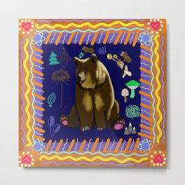 Bohemian Woodland Bear Metal Print