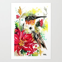Christmas hummingbird 1 Art Print