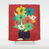 matisse Shower Curtains featuring Paper Flowers by Picomodi