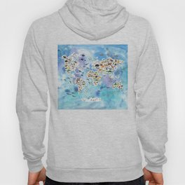 Cartoon animal world map, back to school. Animals from all over the world, blue watercolour watercolor Hoody