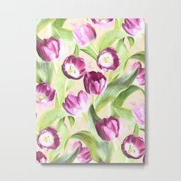 Deep Magenta Tulips on Creamy Peach Metal Print