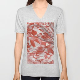 Abstract coral white modern geometrical triangles Unisex V-Neck