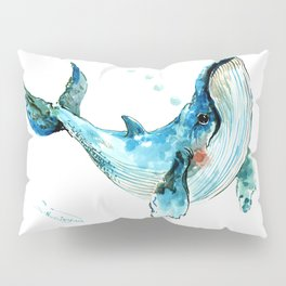 Humpback Whale Artwork Children Illustration Cute little Whale, whale design Pillow Sham
