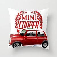 mini cooper Throw Pillows featuring Classic Mini Cooper by car2oonz