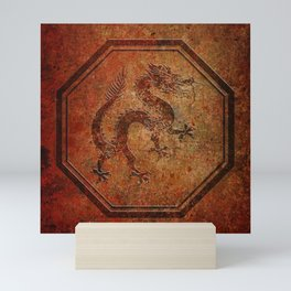 Distressed Chinese Dragon In Octagon Frame Mini Art Print