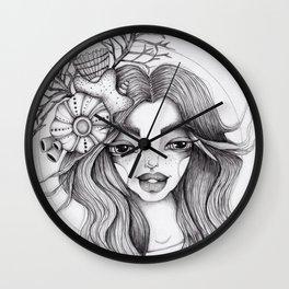 JennyMannoArt Graphite Drawing/Serena the mermaid Wall Clock