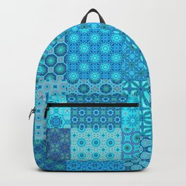 Blue Patchwork Quilt with 25 different tiled patterns Backpack