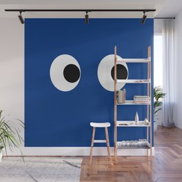 Googly Wiggle Eyes Print Blue Navy Indigo Kids Decor Wall Mural