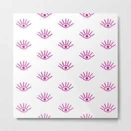 Pink Evil Eye Pattern Metal Print