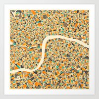 jazzberry Art Prints featuring LONDON MAP by Jazzberry Blue