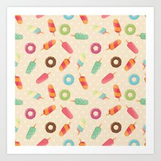 Ice cream and donuts 001 Art Print