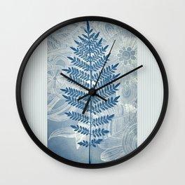 Jacaranda Leaf in Blue, Cream, Grey Wall Clock