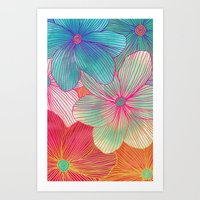 mint Art Prints featuring Between the Lines - tropical flowers in pink, orange, blue & mint by micklyn
