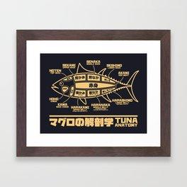 Tuna Anatomy Japanese Maguro Sushi - Black Sand Framed Art Print
