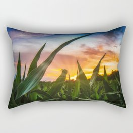 A view through the corn field at sunset Rectangular Pillow