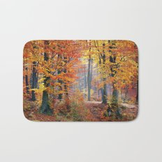 Colorful Autumn Fall Forest Bath Mat