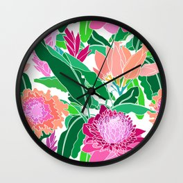 Bird of Paradise + Ginger Tropical Floral in White Wall Clock