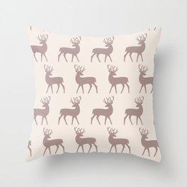 Mid Century Modern Deer Pattern Beige 3 Throw Pillow