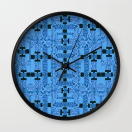 Blue Geometric Pattern High Definition Quilt Design Wall Clock