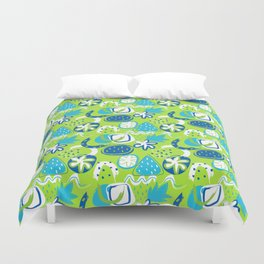 Brushstroke Abstracts - blue and green Duvet Cover
