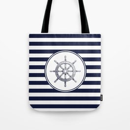 Steering Wheel and Navy Blue Stripes Tote Bag