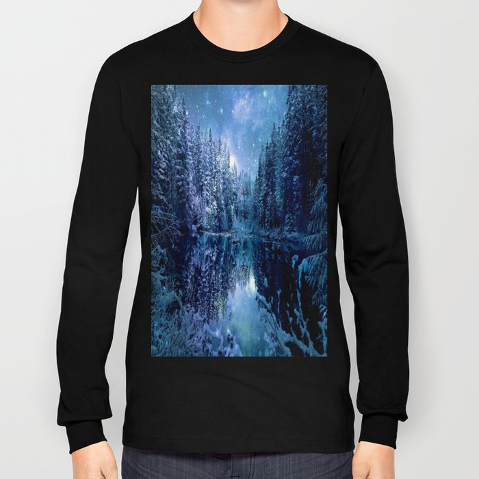 A Cold Winter's Night : Turquoise Teal Blue Winter Wonderland Long Sleeve T-shirt