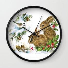 Vintage Christmas Bunnies Wall Clock