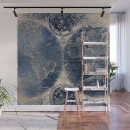 Antique World Map Gold Navy Blue Library Wall Mural