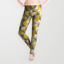 Retro Triangle Pattern in Yellow and Grey Leggings