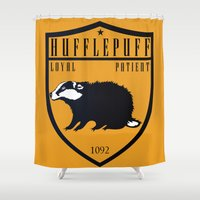 hufflepuff Shower Curtains featuring Hufflepuff Crest by machmigo