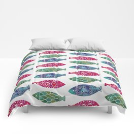 Fish Watercolor Pattern Comforters
