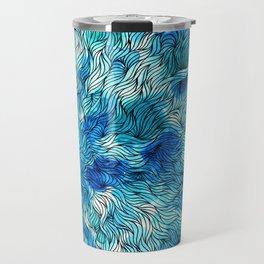 Blue watercolor seaweed design Travel Mug
