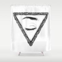 sleep Shower Curtains featuring Sleep by Tom Kitchen
