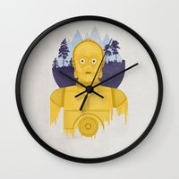c3po Wall Clocks featuring C3PO by Robert Scheribel