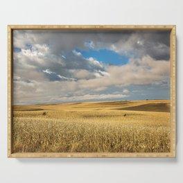 Iowa in November - Golden Corn Field in Autumn Serving Tray