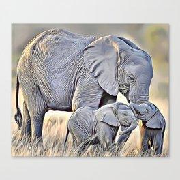 Elephant Family Airbrush Artwork Canvas Print